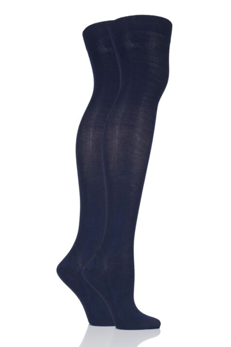 Plain Over The Knee Socks - Navy Product Image