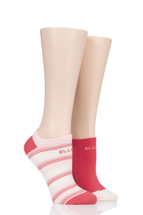 Ladies 2 Pair Elle Striped Bamboo No-Show Socks Product Image