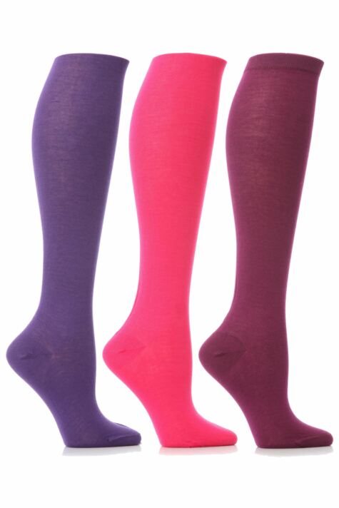 Ladies 3 Pair Elle Pearl Cotton Knee High Socks In Pinks and Purples Product Image
