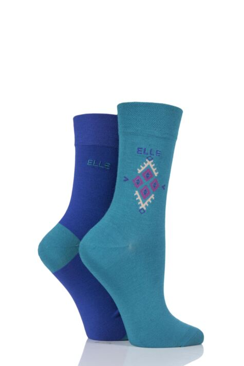 Ladies 2 Pair Elle Bamboo Patterned and Plain Socks sale sale Product Image
