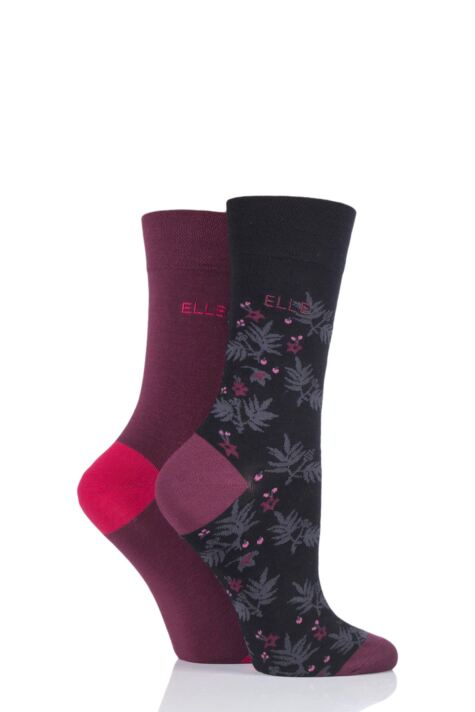 Ladies 2 Pair Elle Bamboo Patterned and Plain Socks Product Image