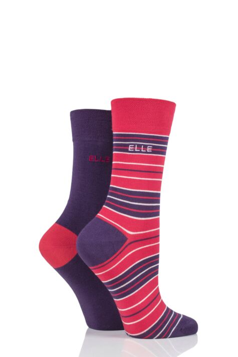 Ladies 2 Pair Elle Bamboo Striped and Plain Socks Product Image