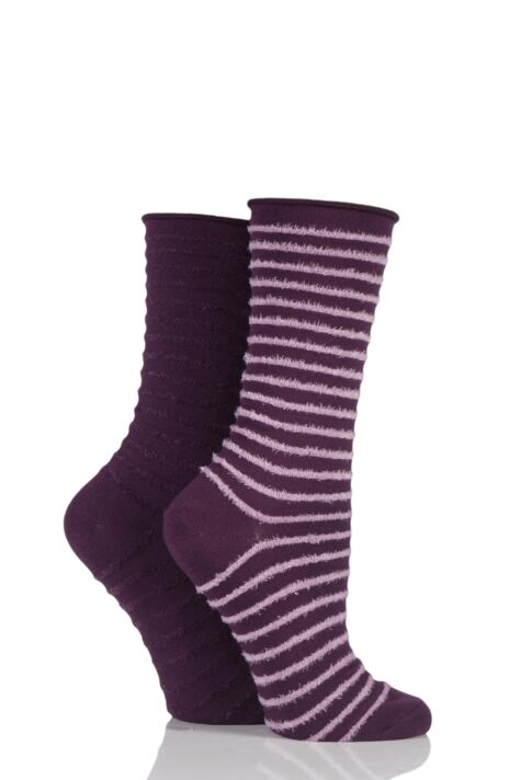 Ladies 2 Pair Elle Bamboo Feather Striped Socks Product Image