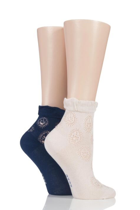 Ladies 2 Pair Elle Bamboo Lacy Anklet Socks Product Image