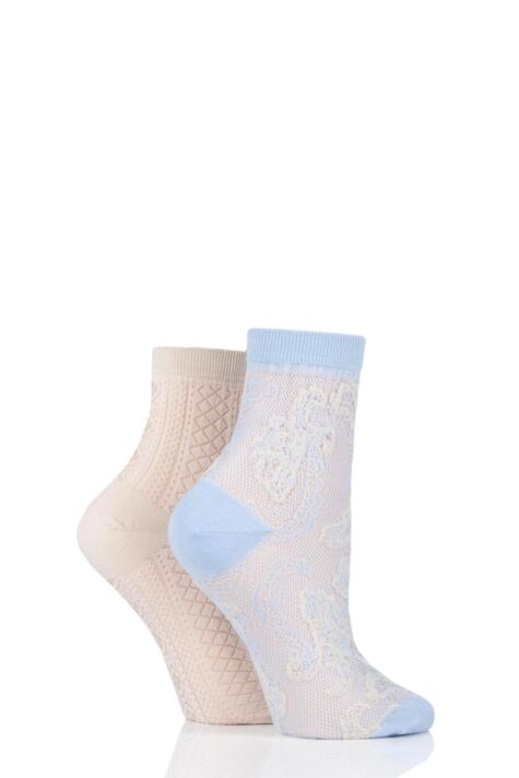 Ladies 2 Pair Elle Lacy Bamboo Anklet Socks Product Image