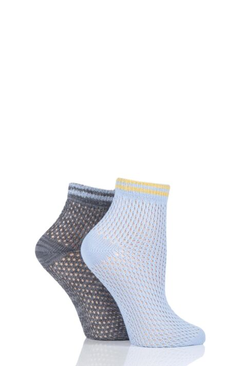 Ladies 2 Pair Elle Soft Net Sporty Anklet Socks Product Image