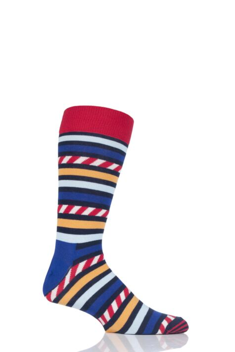 Mens and Ladies 1 Pair Happy Socks Stripe on Stripe Combed Cotton Socks Product Image