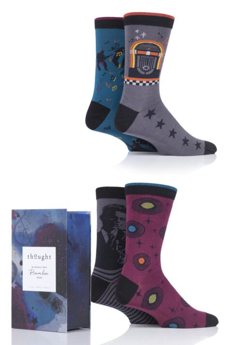 Mens 4 Pair Thought Jazz Music Bamboo and Organic Cotton Gift Boxed Socks Product Image