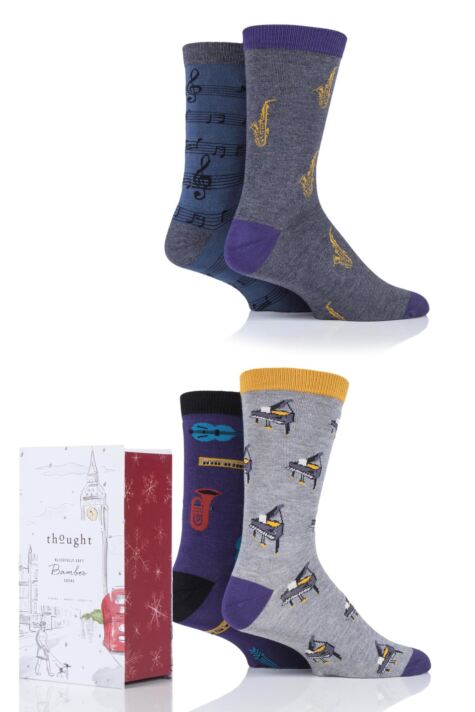 Mens 4 Pair Thought Melody Music Bamboo and Organic Cotton Gift Boxed Socks Product Image