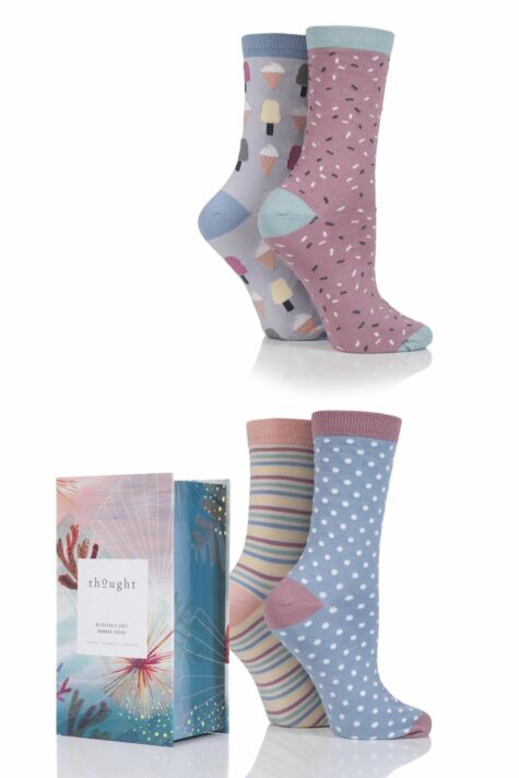 Ladies 4 Pair Thought Summer Vibe Bamboo and Organic Cotton Socks In Gift Box Product Image