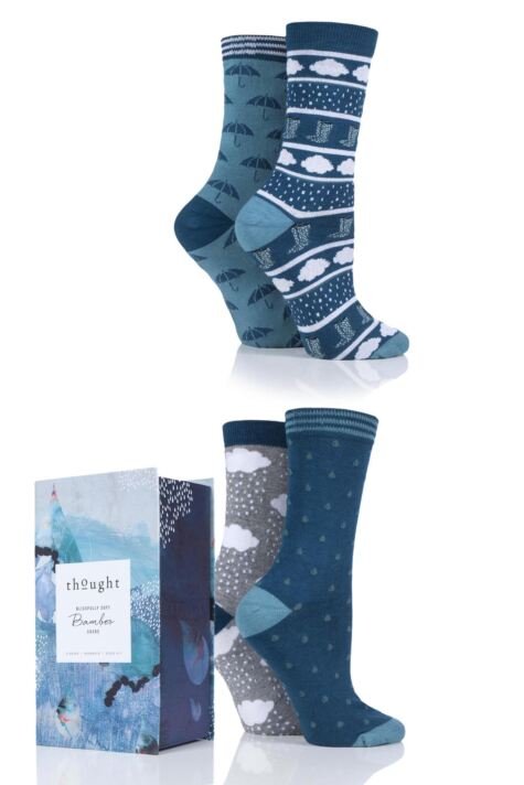 Ladies 4 Pair Thought Rainy Days Bamboo and Organic Cotton Socks Gift Box Product Image