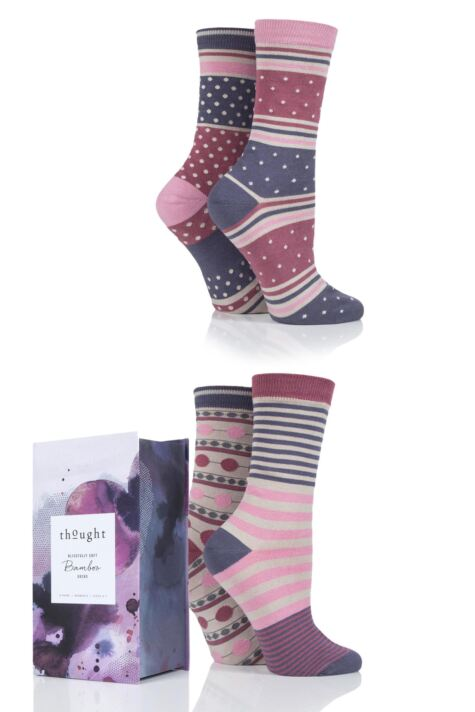 Ladies 4 Pair Thought Spot and Stripe Bamboo and Organic Cotton Socks Gift Box Product Image