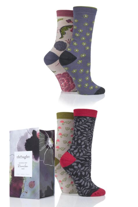 Ladies 4 Pair Thought Floral Bamboo and Organic Cotton Socks Gift Box Product Image