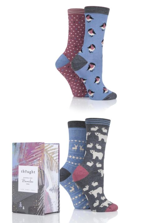 Ladies 4 Pair Thought Christmas Animals Bamboo and Organic Cotton Socks Gift Box Product Image