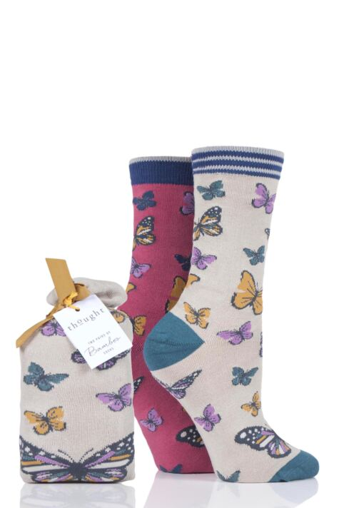 Ladies 2 Pair Thought Butterfly Bamboo and Organic Cotton Gift Bag Socks Product Image