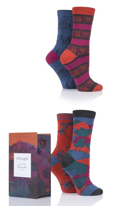 Ladies 4 Pair Thought Alpine Bamboo and Organic Cotton Gift Boxed Socks Product Image