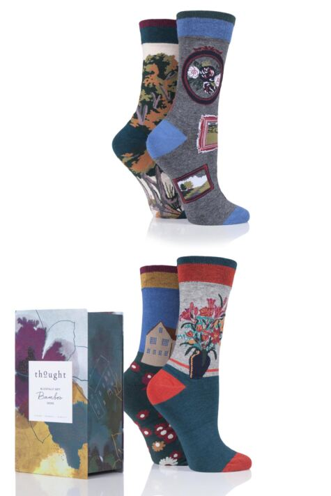 Ladies 4 Pair Thought Country Manor Bamboo and Organic Cotton Gift Boxed Socks Product Image