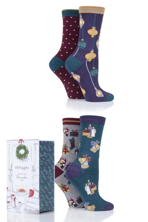 Ladies 4 Pair Thought Christmas Night Bamboo and Organic Cotton Socks Gift Box