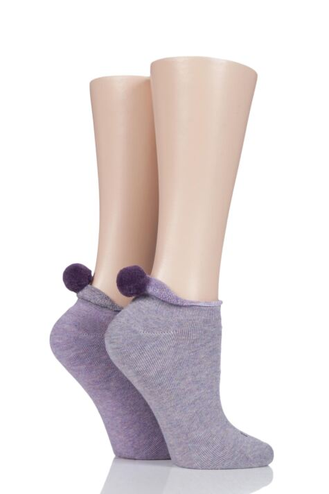 Ladies 2 Pair Elle Cushioned Trainer Liner Socks with Pom Pom Product Image