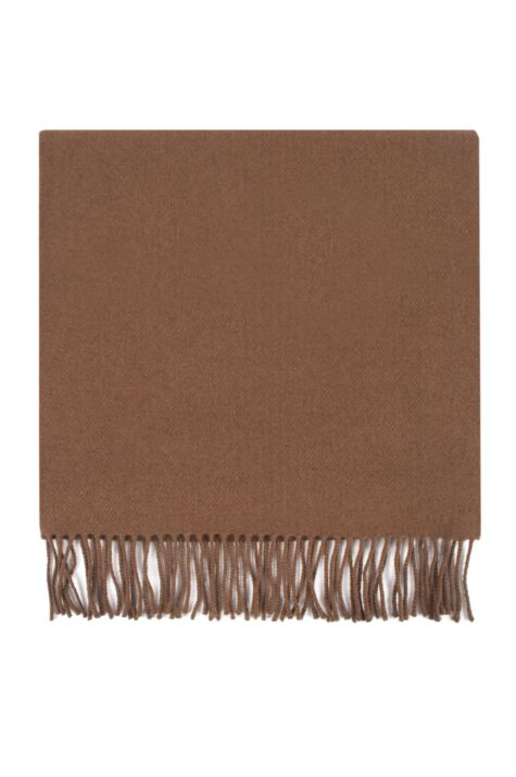 Mens and Ladies Great & British Knitwear Made In Scotland 100% Cashmere Wide Knit Plain Scarf with Fringe Product Image