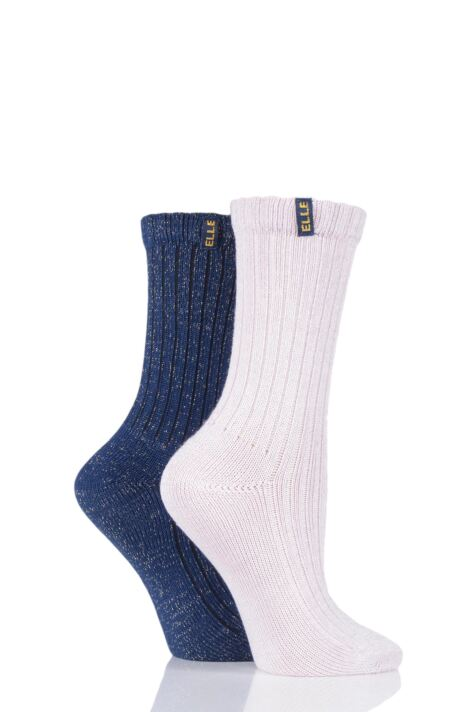 Ladies 2 Pair Elle Velvet Soft Ribbed Boot Socks Product Image