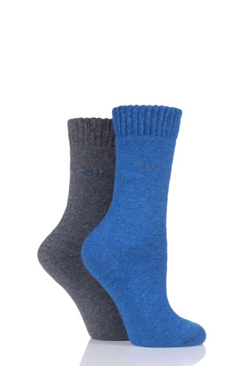 Ladies 2 Pair Elle Wool Mix Brushed Inside Boot Socks Product Image