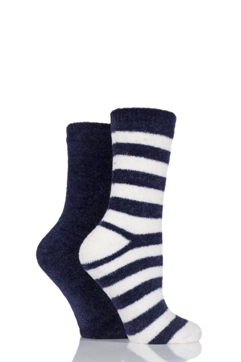Ladies 2 Pair Elle Striped Chenille Boot Socks Product Image