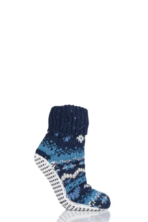 Ladies 1 Pair Elle Chunky Fair Isle Moccasin Grip Socks Product Image