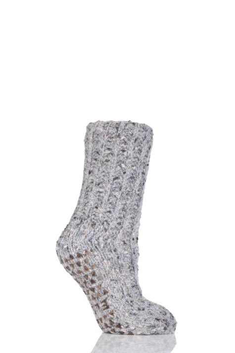 Ladies 1 Pair Elle Ribbed Feather Bootie Socks with Grip Product Image
