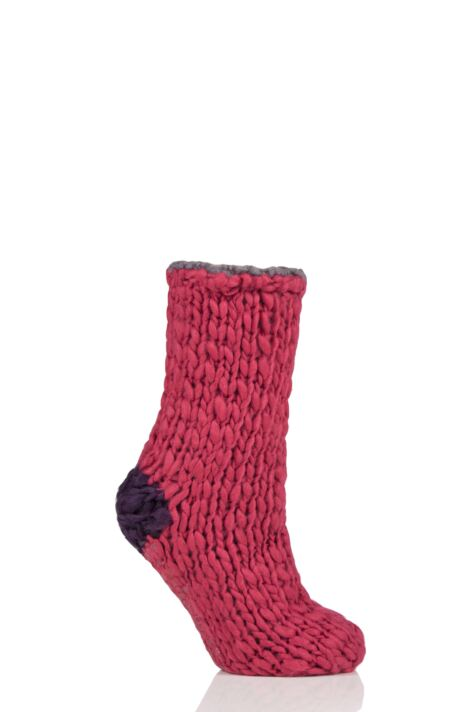 Ladies 1 Pair Elle Soft Hand Knitted Slipper Socks Product Image