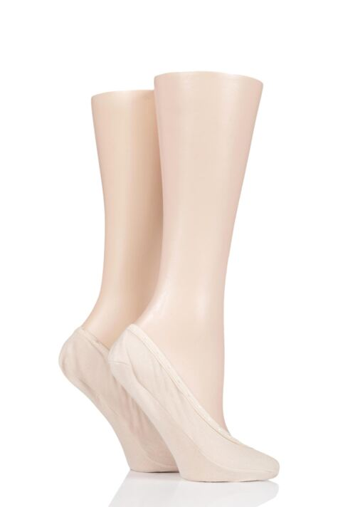 Ladies 2 Pair Elle Cotton Shoe Liner Socks with Padding Product Image