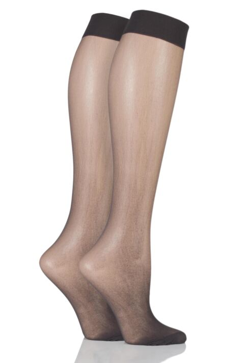Ladies 2 Pair Elle 15 Denier Knee Highs With Comfort Cuff Product Image