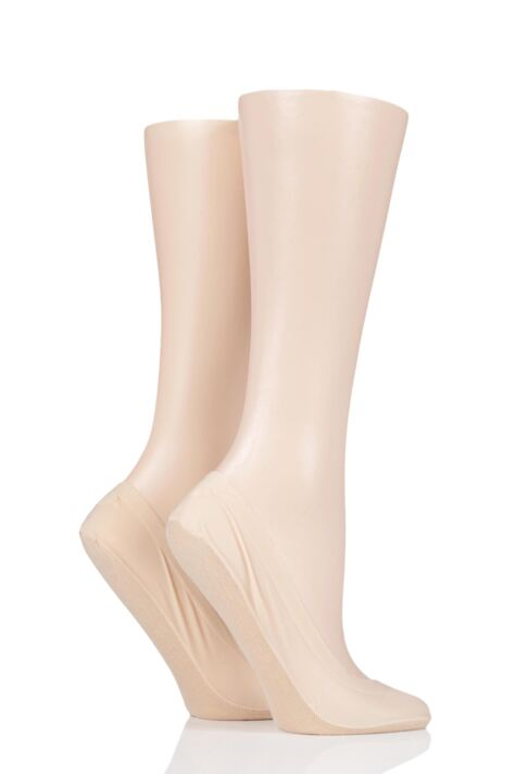 Ladies 2 Pair Elle Smooth Nylon Shoe Liner Socks Product Image