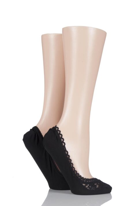 Ladies 2 Pair Elle Lacy and Plain Fashion Shoe Liners Product Image