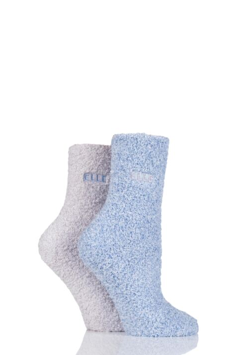 Ladies 2 Pair Elle Two Tone Soft and Cosy Bed Socks Product Image