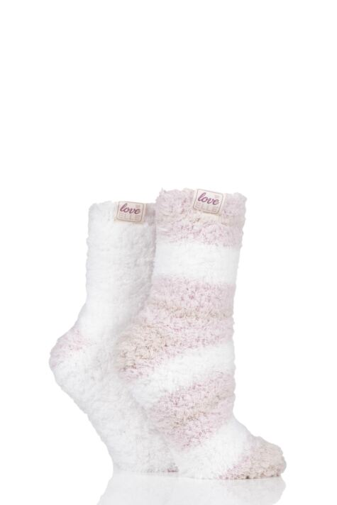Ladies 2 Pair Elle Fluffy and Cosy Blissful Bed Time Socks Product Image