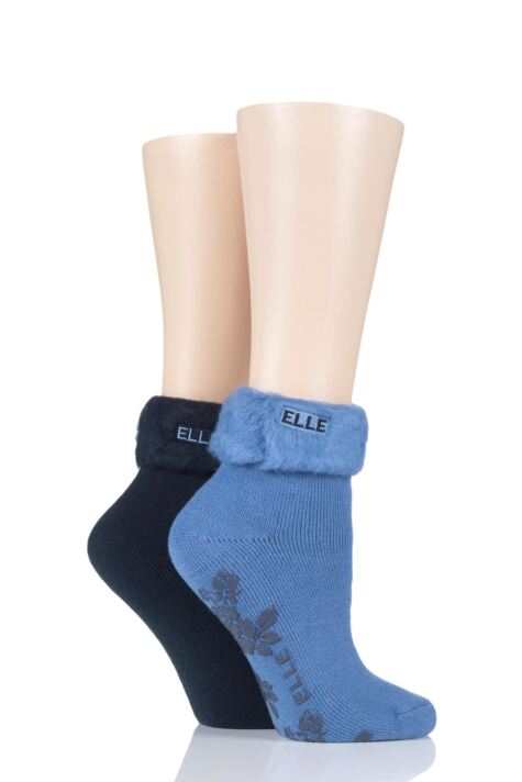 Ladies 2 Pair Elle Thermal Bed and Slipper Socks Product Image