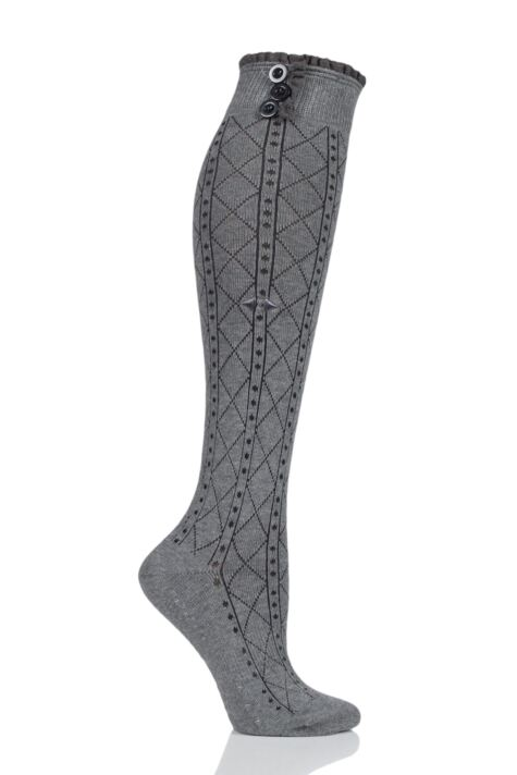 Ladies 1 Pair Tavi Noir Selah Knee High Yoga Organic Cotton Socks with Grip Product Image