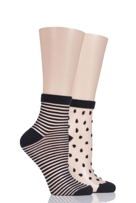 Ladies 2 Pair Elle Bamboo Sheer Stripe and Spot Anklet Socks Product Image
