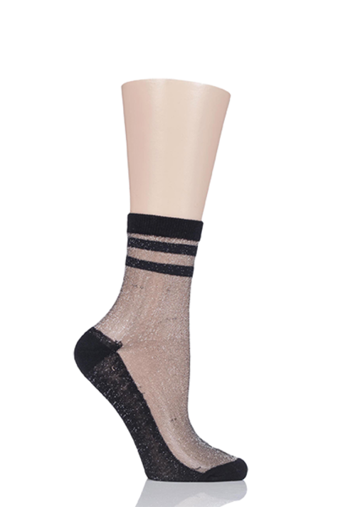 1 Pair Elle Silver Lurex Sporty Anklet Socks Product Image