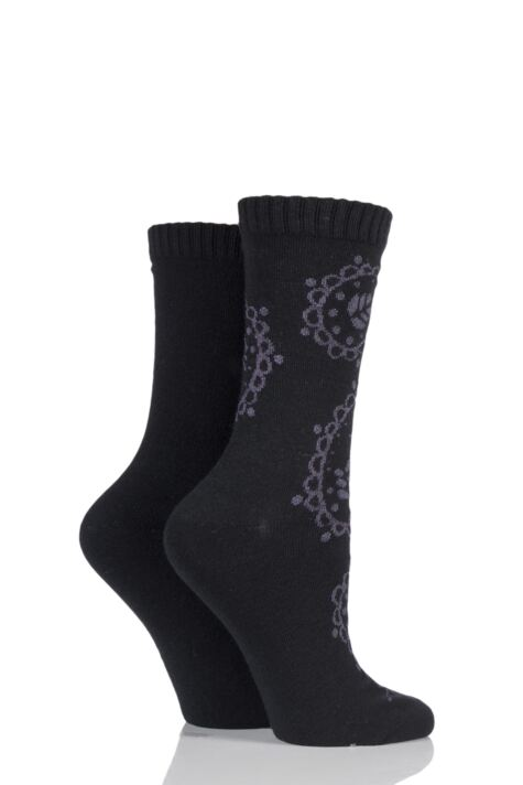 Ladies 2 Pair Elle Paisley Patterned Cashmere Blend Socks Product Image