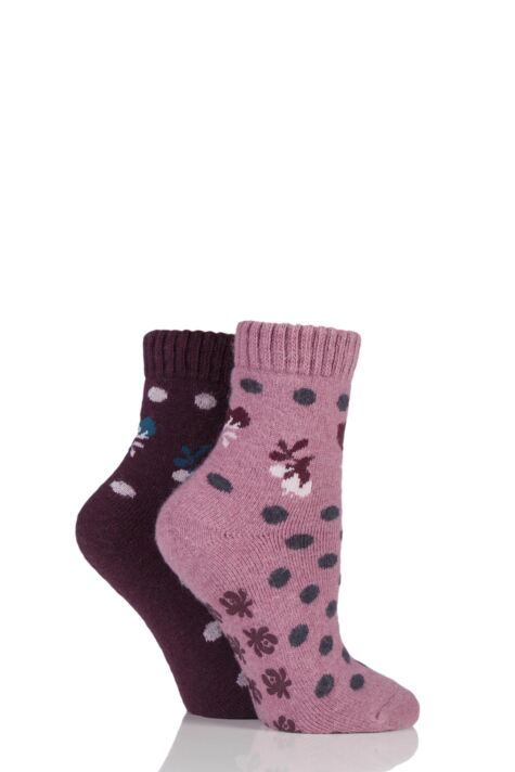 Ladies 2 Pair Elle Wool Blend Spotty Bed and Slipper Socks Product Image