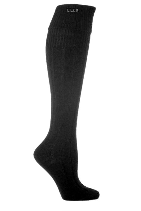 Ladies 1 Pair Elle Wool Ribbed Knee High Socks with Cuff Product Image