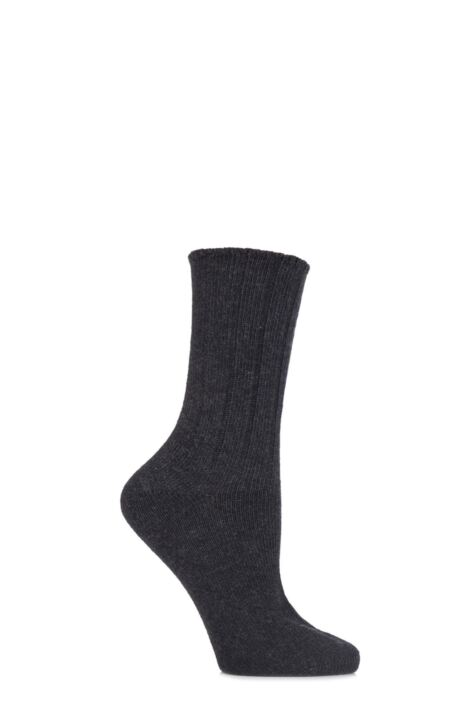 Ladies 1 Pair Elle Wool and Viscose Ribbed Bed Socks Product Image