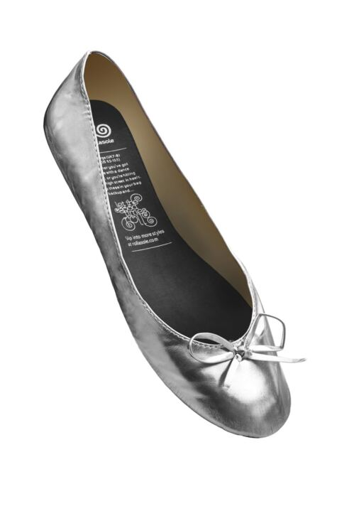 Ladies 1 Pair Rollasole Silver Rollable After Party Shoes to Keep in Your Handbag Product Image