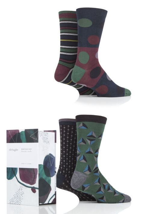Mens 4 Pair Thought Henry Patterned Bamboo and Organic Cotton Gift Boxed Socks Product Image