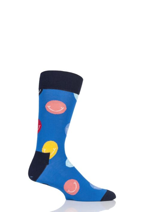 Mens and Ladies 1 Pair Happy Socks Smile Combed Cotton Socks Product Image