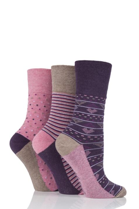 Ladies 3 Pair Gentle Grip Millie Mixed Pattern Cotton Socks Product Image