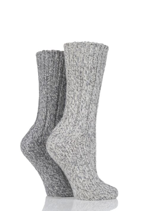 Ladies 2 Pair SockShop Ribbed Wool Boot Socks with Smooth Toe Seams Product Image