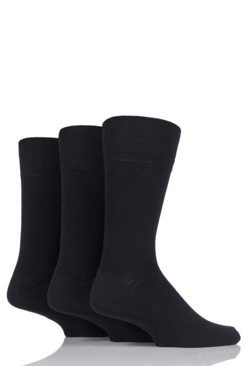 Mens 3 Pair Gentle Grip Plain Socks Product Image